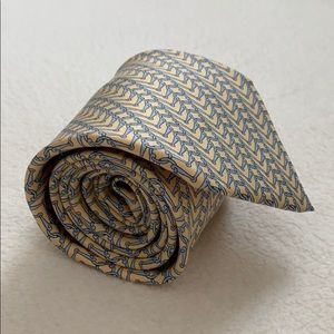 Hermés 100% silk yellow and blue tie